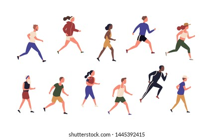 Collection of running people isolated on white background. Bundle of young and elderly men and women jogging. Set of male and female runners or sprinters. Flat cartoon colorful vector illustration.