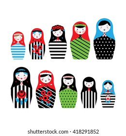 Collection of Russian dolls - matryoshka and decorative elements for design. Vector illustration.
