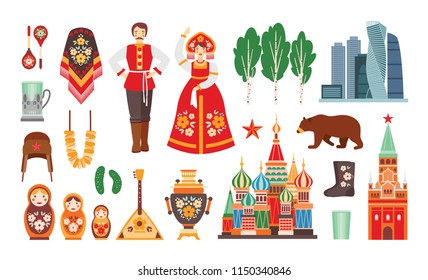 Collection of Russian national costumes, attributes, buildings isolated on white background - matryoshka, balalayka, birch tree, Kremlin, bear, valenki footwear, faceted glass. Cartoon vector