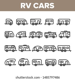 Collection Rv Camper Cars Vehicle Icons Set Vector Thin Line. Different Types Rv Cars, Trailer, Automobile And Home On Wheels Linear Pictograms. Travel Camping Monochrome Contour Illustrations