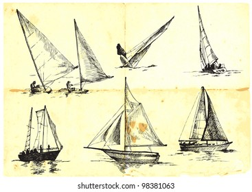 collection of sailing boats - yachts - Sport