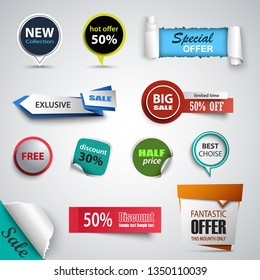 Collection sale abstract pointers and labels design elements