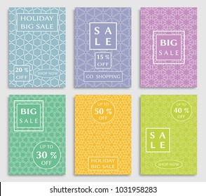 Collection of sale banners, flyers. Modern and vintage social media placard set for mobile website, posters, email and newsletter designs, ads, online shopping, promotional material. Line patterns set