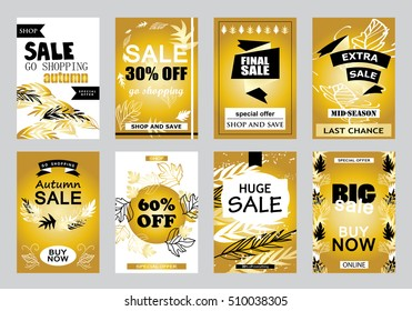Collection of sale banners, vector illustration. Hand drawn vintage and modern sketch placard set with lettering. For promotional material, promo, website and mobile banners, newsletter and ads