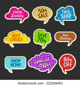 Collection of sale discount colored cloud banners. Image contains transparency effects in lights and shadows - you can put them on every surface. 10 EPS
