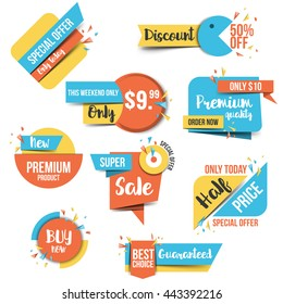 Collection of Sale Discount Styled origami Banners, Labels, Tags, Emblems. Flat design. Vector