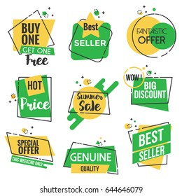 Collection of Sale Discount Styled origami Banners, Labels, Tags, Emblems. Yellow and green color theme. Flat outline design Vector illustration