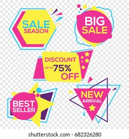 Collection of Sale Discount Styled Origami Banners, Labels, Tags, Emblems. Vector