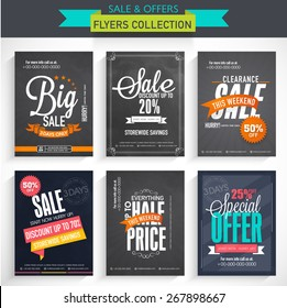 Collection of Sale Flyers with different discount offers, created on chalkboard background.