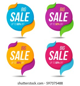 Collection of sale labels price tags banners stickers badges templates. Vector illustration.