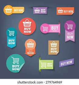 """Collection of sales buttons """"Buy Now"""". Colorful flat design style."""