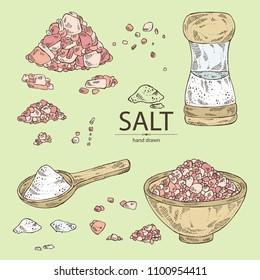 Collection of salt: spoon with salt, pink Himalaya salt and salt shaker. Vector hand drawn illustration.