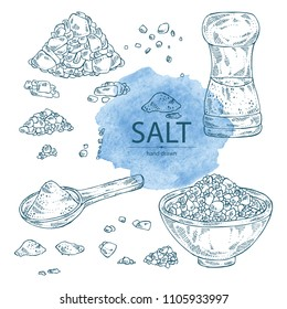 Collection of salt: spoon with salt, pink Himalaya salt and salt shaker. Vector hand drawn illustration.
