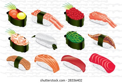 collection of samples sushi