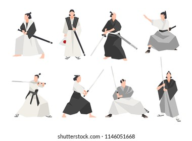 Collection of samurai isolated on white background. Set of male Japanese warriors wearing various clothes, standing in different postures and holding katana swords. Flat cartoon vector illustration
