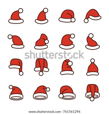 collection of santa hats new year and christmas santa hats collection