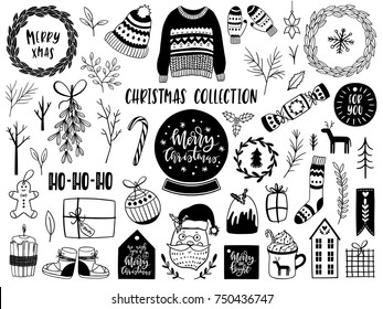 Collection of Scandinavian Merry Christmas And Happy New Year elements. Vector illustration.