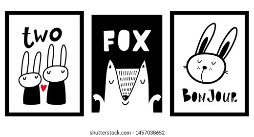 Collection of Scandinavian posters and prints for nursery decor. Vector images of funny animals.