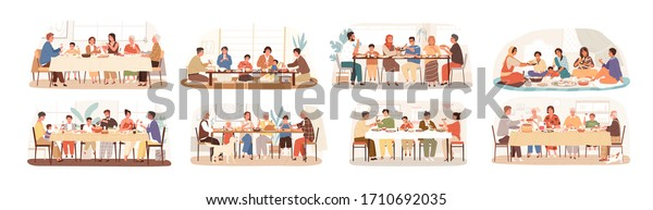 Collection of scenes with family at festive dinner. Children, parents and grandparents eating national dishes together. Holiday meal in various countries. Vector illustration in flat cartoon style