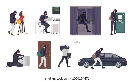 Collection of scenes with male thief or burglar wearing mask and black clothes stealing things from woman's handbag, ATM, safe box, car, apartment or house. Flat cartoon colorful vector illustration
