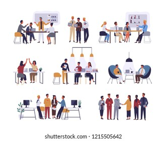 Collection of scenes at office. Bundle of men and women taking part in business meeting, negotiation, brainstorming, talking to each other. Colorful vector illustration in flat cartoon style.