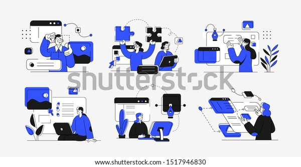 Collection of scenes at office. Bundle of men and women taking part in business meeting, negotiation, brainstorming, talking to each other. Outline vector illustration. Design And Development