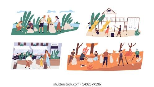 Collection of scenes with people or ecologists collecting garbage in forest, on street and playground. Altruistic activity, environmental protection. Flat cartoon colorful vector illustration.