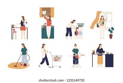 Collection of scenes with woman or housewife doing housework - washing dishes, ironing clothes, cleaning window, cooking, feeding baby, shopping. Colorful vector illustration in flat cartoon style.