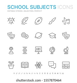 Collection of school subjects related line icons. 48x48 Pixel Perfect. Editable stroke