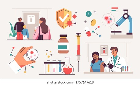 Collection of scientists, doctors or researchers in laboratory. People working in lab, medicines, medical equipment. Illustrations isolated on white background. Flat cartoon colorful vector