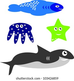 Collection of sea animals in vectors
