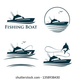 Collection of Sea Fishing Boat Recreation Logo Template