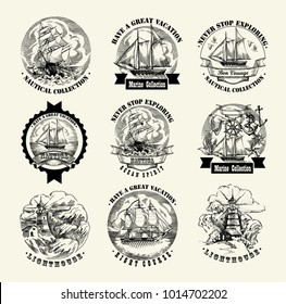 Collection of sea illustration retro style. Old gravure style. Ink and pen artwork.