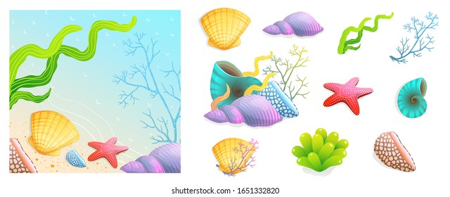 Collection of sea shells, sea star, scallop and corals with ready beach vacation and recreation design. Hand drawn watercolor style summer marine and aquatic paradise, collection of shells objects.