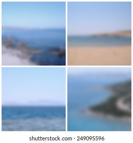 Collection of sea view blurred backgrounds