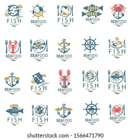 collection of seafood menu design with fish, crab and lobster
