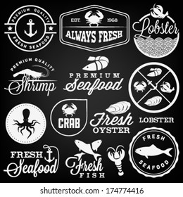 Collection of Seafood Restaurant Labels, Badges and Icons in Vintage Style