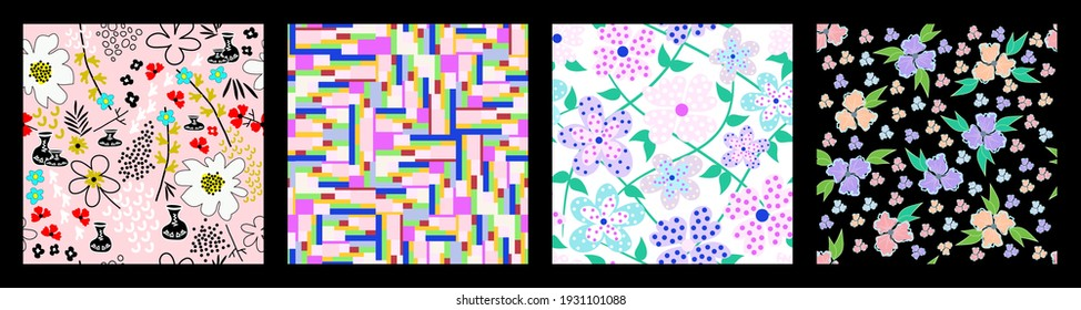 Collection of seamless backgrounds with floral motives. Elegant contemporary patterns with colorful florets. Pastel colors. For cover, textile, wallpaper, wrapping. Vector.