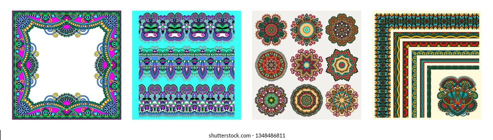 collection of seamless decorative ethnic ornamental floral stripes, circle lace and embroidery fashion in indian kalamkari style, vector illustration set