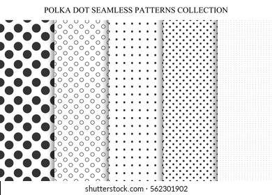 Collection of seamless dots patterns. Polka vector illustrations.
