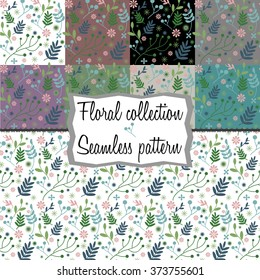 Collection: seamless floral pattern with different background colors