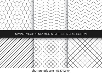 Collection of seamless geometric minimalistic patterns.