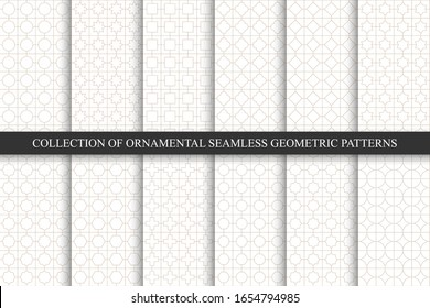 Collection of seamless geometric ornamental minimalistic patterns. White oriental luxury backgrounds. Grid symmetric design
