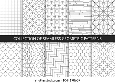 Collection of seamless geometric patterns. Simple vector backgrounds. Countur striped gray design.
