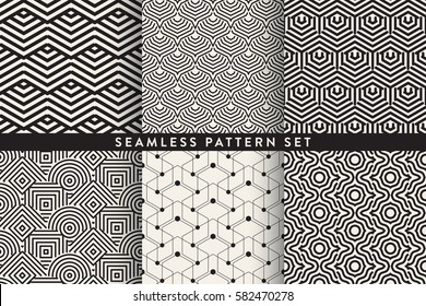 Collection of seamless geometric patterns - various trendy styles - lines dots and shapes