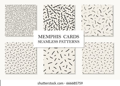Collection of seamless memphis patterns, cards. Mosaic curve, dash textures. Trendy repetitive backgrounds. Retro design 80 - 90s.