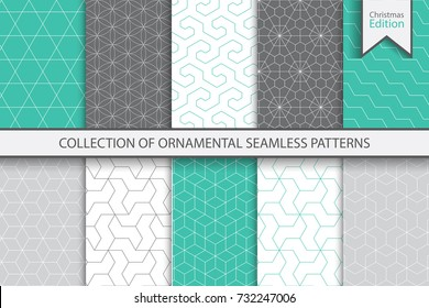 Collection of seamless ornamental colorful patterns. Christmas edition.