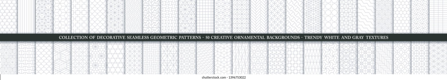 Collection of seamless ornamental vector patterns and swatches. White and grey geometric oriental backgrounds. Creative monochrome eastern textures