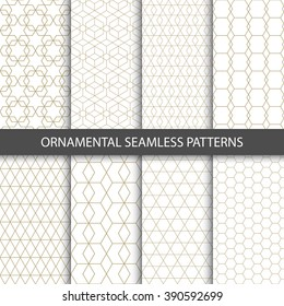 Collection of seamless ornametal patterns.