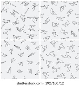 Collection of seamless paper origami patterns. Abstract creative backgrounds.